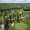 Aerial view of the 11th and 13th green in the background at Perth Golf Course