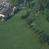 Aerial view of the clubhouse and the putting holes at St. Marys Golf and Country Club