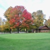 A fall day view of a green at Lakeview House Golf Course