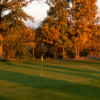 A fall sunset view of the 7th green at Pros Golf Centre