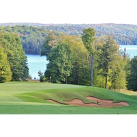 Lake views command your attention on the par-3 second hole at Bigwin Island Golf Club in Baysville, Ontario.